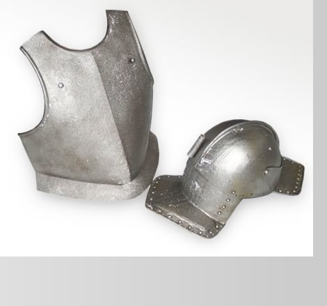 Armour breastplate and helmet